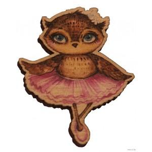 Сова-балерина (деревянный значок в упаковке)